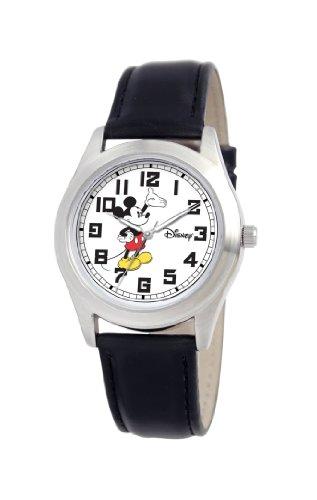 Disney Women's D148S006 Mickey Mouse Black Leather Strap Watch