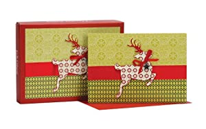 C.R. Gibson Beribboned Christmas Card, Leaping Deer, Box of 12