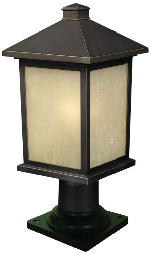 Amazon.com: Z-Lite 507PHM-533PM-ORB Holbrook Outdoor Post Light, Metal Frame, Oil Rubbed Bronze Finish and Tinted Seedy Shade of Glass Material: Home Improvement