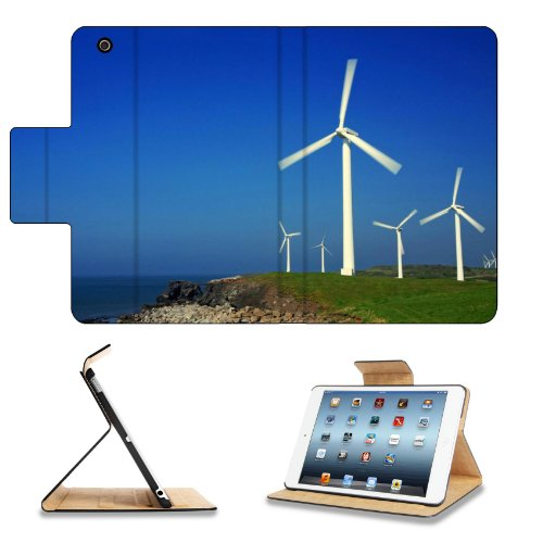 Ocean Windmills Generators Turbines Scenery Apple Ipad Mini Flip Case Stand Smart Magnetic Cover Open Ports Customized Made To Order Support Ready Premium Deluxe Pu Leather 8 Inch (205Mm) X 5 1/2 Inch (140Mm) X 11/16 Inch (17Mm) Msd Ipad Mini Professional