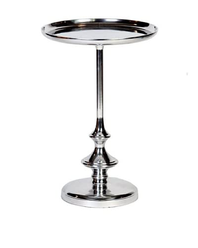 Prima Design Source Slender Cast Aluminum Recessed-Top Table, Nickel As You See