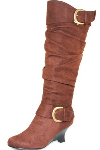 Women's Fuel B-45994 Suede Wedge High Heel Knee Boots Fashion Shoes