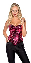 Showtime Shirley Women's Strapless Sequin Corset, Hot Pink, X-Large