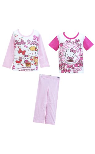 [Hello Kitty] Pajamas 2 tops short sleeve long sleeve baby girl print (120)