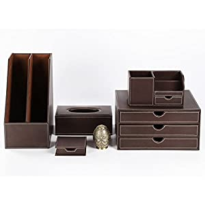 New release kingfom office desk organizer - Leather desk organizer set ...
