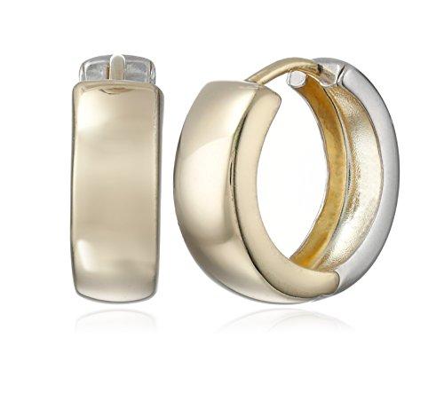 14k-Gold-Bonded-Sterling-Silver-Two-Tone-Huggie-Hoop-Earrings