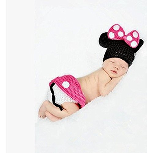 Photo Prop Baby Crochet Outfit Hat Diaper Cover Minnie Mouse 0-2 Months Pink back-1063694
