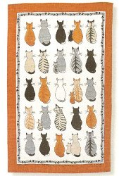 Linen Tea Towel Cats in Waiting - Buy Linen Tea Towel Cats in Waiting - Purchase Linen Tea Towel Cats in Waiting (Ulser Weaver, Home & Garden, Categories, Kitchen & Dining, Kitchen & Table Linens, Dish Cloths & Dish Towels)