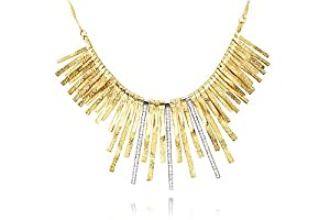 14K Yellow Gold Matte-Finish Designer Necklace, Set with Gold Strands and Pave Set Diamonds Bars.