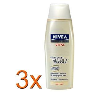 3xNivea Visage Vital Gesichtswasser/ für Reife Haut/ Hautalterung/alkoholfrei/Seidenproteine/Feuchtigkeit/ Frische/ Reinigung/geschmeidiges Hautgefühl