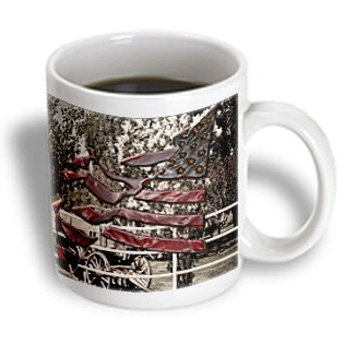 Jos Fauxtographee Realistic - A Plastic Flag Cut Out And Layered Over A Wagon And Blossoming Tree In A Yard And Beveled - 11Oz Mug (Mug_51958_1)