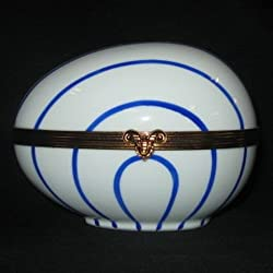 Chamart Limoges Hinged Blue Striped Goose Egg Box (Large)