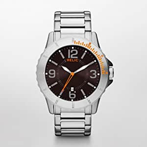 Relic by Fossil Gresham Orange Accent Stainess Steel Mens Watch ZR12047
