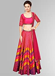 A PINK COLOURED NAVRFATRI SPECIAL ADDITION AND ALSO PREPARE OF DIWALI HUNGAMA SILK LEHENGA CHOLI WITH DIGITAL PRINT