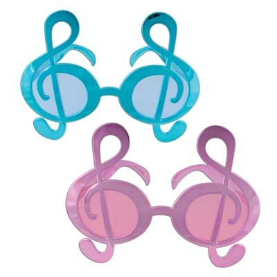 Metallic G Clef Fanci-Frames (asstd pink & turquoise) Party Accessory  (1 count) (1/Pkg)