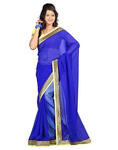 lookslady bedruckten blauen chiffon sari mit unstitched bluse st ck. Black Bedroom Furniture Sets. Home Design Ideas