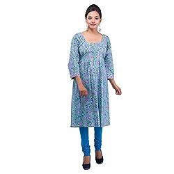 Damyantii Women Cotton Kurta (Dmk_00044_Large _Cyan _46)