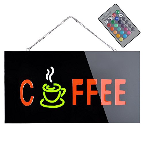 17X9 Rgb Coffee Remote Sign Animated Led Neon Light Motion Shop Window Display