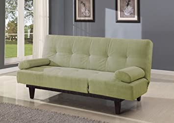 Cybil apple green microfiber fabric upholstered adjustable sofa futon bed with tufted back and adjustable side rest