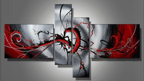 Sangu 100% Hand Painted Wood Framed Passion Color Abstract Home Decoration Modern Oil Paintings Gift on Canvas 4-piece Art Wall Decor