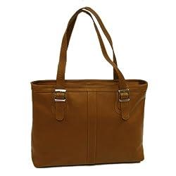 Piel Leather Ladies Laptop Tote, Saddle, One Size