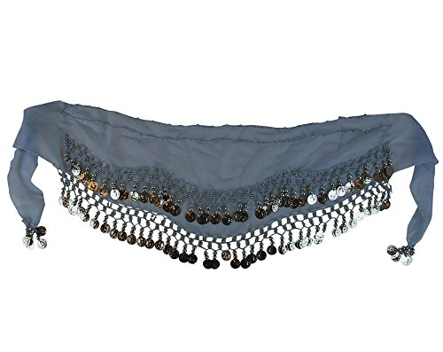 Kid Size Belly Dance Hip Scarf Wrap Belt Tribal Sash Skirt SILVER Coins Party Favor