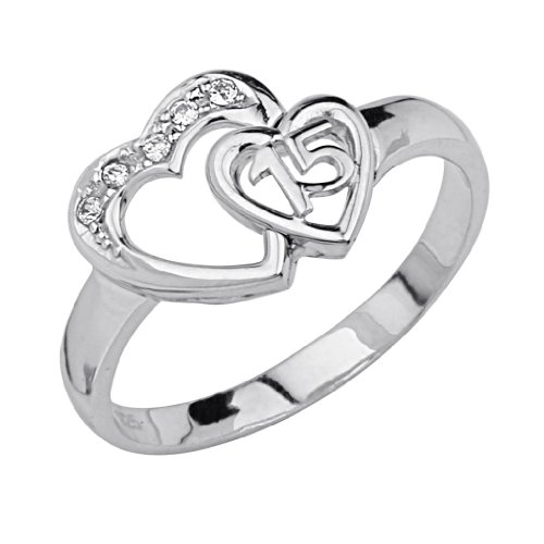.925 Sterling Silver CZ Sweet 15 Heart Womens Ring - Size 7