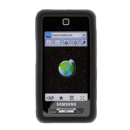 Black Rubber Silicone Skin Cover Case for T-Mobile Samsung Behold T919 Cell Phone