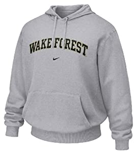 Wake Forest Demon Deacons Grey Embroidered Hooded Sweatshirt By Nike Team Sports by Nike