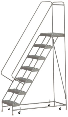Tri-Arc WLAR107245 7-Step All-Welded Aluminum Rolling Industrial & Warehouse Ladder with Handrail, Grip Strut Tread, 24-Inch Wide Steps