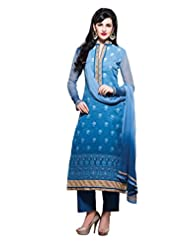Nirali Womens Cotton Salwar Kameez Semi Stitched - Free Size (Blue)