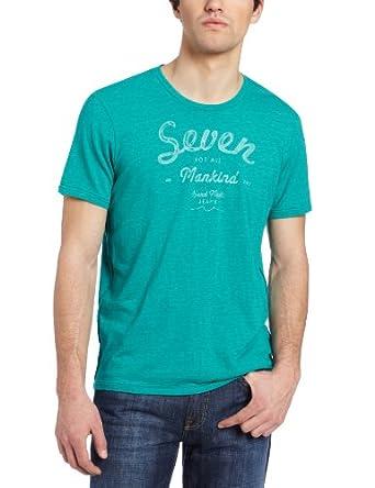 (快抢)7 For All Mankind Men's Seven Logo Tee型男圆领短袖T恤衫$32.12 白、蓝
