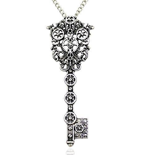 Vintage-Victorian-Filigree-Skeleton-Key-Watch-Clock-Gear-Cog-Steampunk-Chain-Pendant-Necklace