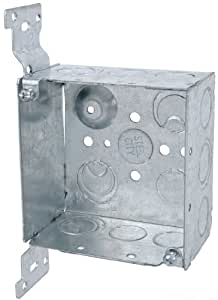 Steel City 52171 CV 1/2 3/4 Pre-Galvanized Steel Square Box with a CV-Bracket and 1/2-Inch and 3/4-Inch Eccentric Knockouts