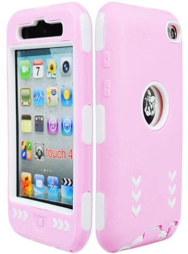 Bastex Hybrid Armor Case For Apple Ipod Touch 4 4G - Baby Pink Silicone Skin / White Hard Cover Arrow front-1026473
