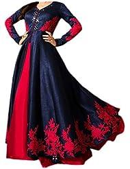Maxthon FashionWomen's Blue & Red Benglori Silk Embroidery Unstitched Free Size XXL Salwar Suit Dress Material...