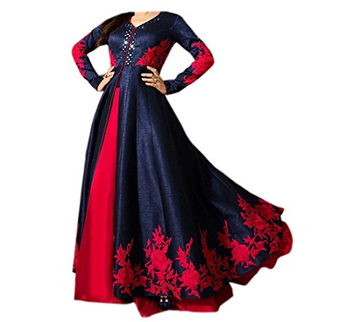 Maxthon FashionWomen\'s Blue & Red Benglori Silk Embroidery Unstitched Free Size XXL Salwar Suit Dress Material (Women\'s Indian Clothing 2248)