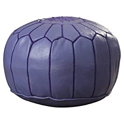 Ikram Design PF020 Round Moroccan Leather Pouf, Lilac Color