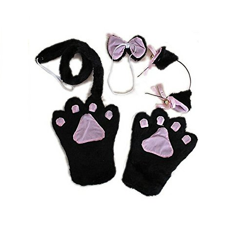 San Tokra Cute Cat Costume Cosplay Halloween Accessory Girls Paw Ear Bow Tie Set (Black)