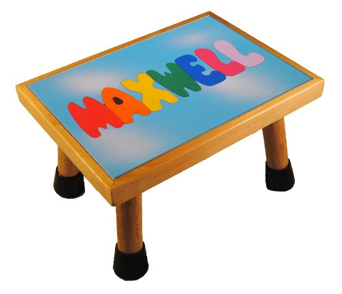 Picture of KidPuzzles Name Puzzle Stool One Name Wooden Puzzle ALL CAPS Blue Day Sky (B00564HRTW) (Pegged Puzzles)
