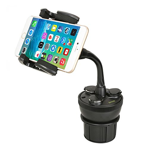Smartphone Car Mount Holder, Ikross Universal Car Cup Holder Mount With 3 Sockets And 2 Usb Charging Port 2.1a - Black