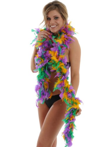 "72"" Feather BOA 60 Gram Fluffy Costume Accessory Mardi Gras Purple Yellow Green"