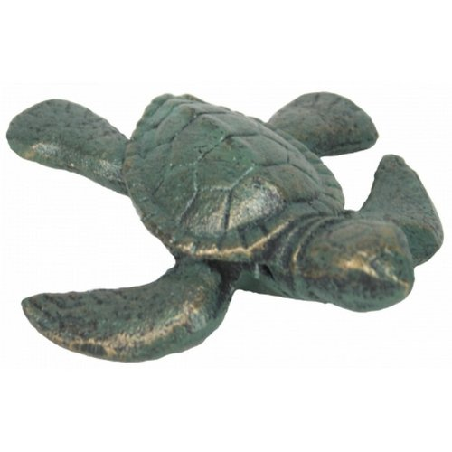 "Seaworn Cast Iron Turtle 4"" - Vintage Nautical Decor - Sea Turtle Decor - Home Decor Nautical - Beach Themed Living Room"