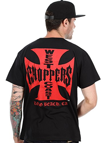 West Coast Choppers Black Red Iron Cross T-Shirt (S , Black)