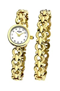 Rotary Ladies Gold Watch Gift Set with Gold Bracelet LB00024/BR/40