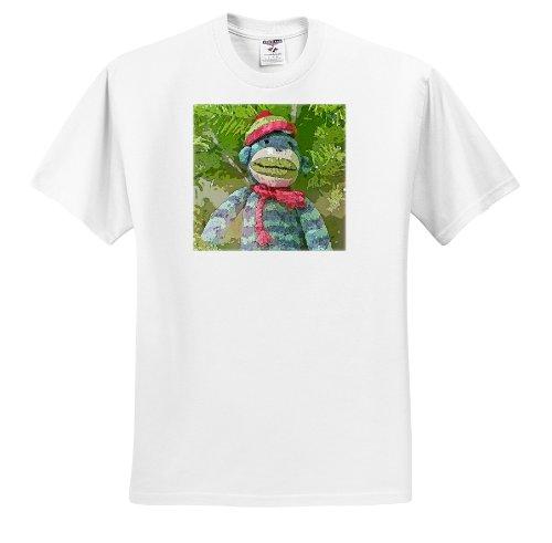 Lee Hiller Designs Colorful Sock Monkeys - Colorful Sock Monkeys Hoilday I - T-Shirts