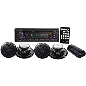 Pyle PLCD4MRKT Audio Accessory Kit PYLE MARINE CD USB MP3 RECIEVER COMBO 4 SPEAKER ... by Pyle
