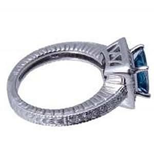1.70 ct Antique Style Diamond Ring Blue Diamond