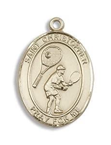 14kt Gold St. Christopher Tennis Medal Sport Athelete