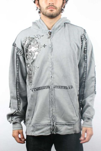 Affliction - Mens Lynott Zip-Up Hoodie in Silver, Size: Large, Color: Silver